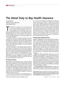 Moral Duty to Buy Health Insurance